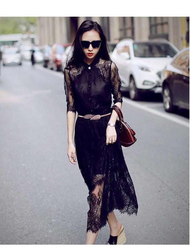 ワンピース レース レディースドレス 透かし彫り レディーススカートチュール 韓国ファッション 気質修身  オシャレ 高級でセクシーなドレス 刺繍フォーマルドレス パーティードレス