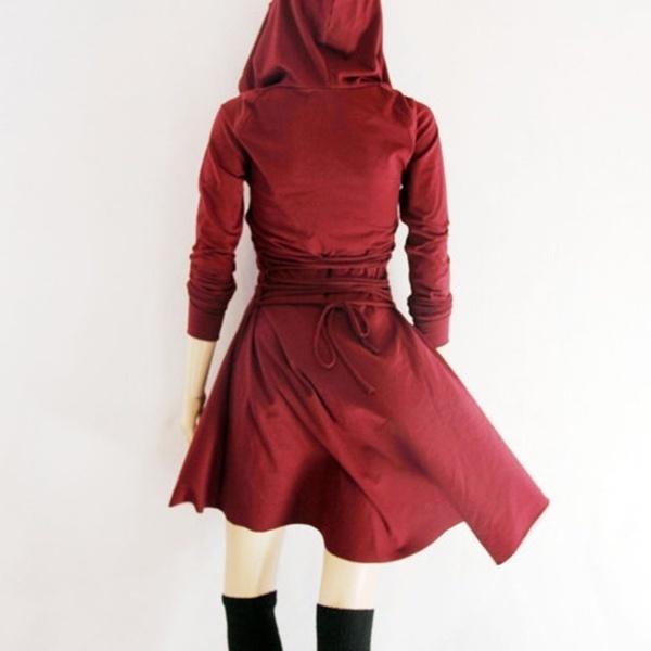 秋冬女性ファッションフード付き長袖ピュアカラーバンデージ不規則なパーカードレス