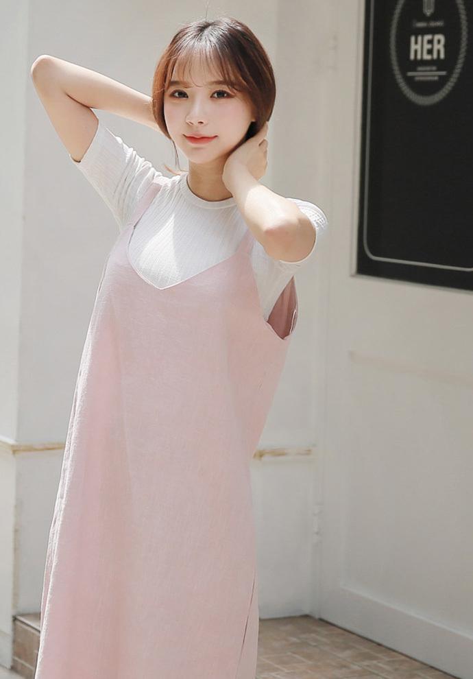 【GOGOSING】スリットポイントリネンワンピース★レディースワンピース かわいい 夏ワンピ レイヤード  リネン 無地 韓国ファッション ドレス p000ccvk