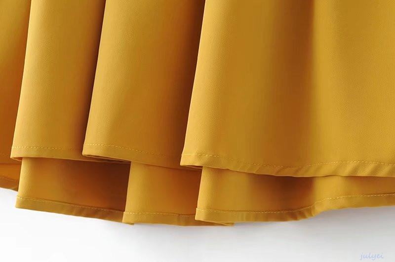 欧米風  レディース シャツワンピース 無地 7分袖 フレア ハイウエスト着やせ ミニワンピース ゆったり長袖 体型カバー イエロー、ブラック