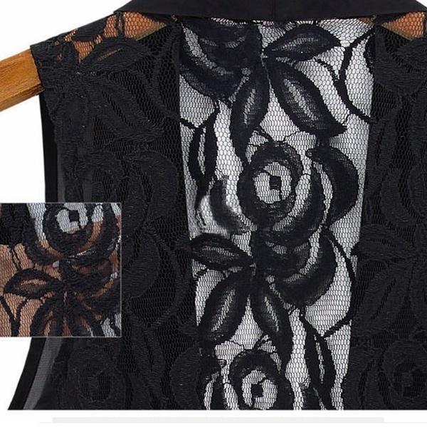 セクシーなヴィンテージエレガントな女性のレースの花のかぎ針編みのシアー不規則な裾のタンクトップベストカーディガン