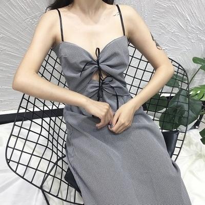 韓国 着やせ 着やせ T-ストラップ 背中開き ひもあり 中長デザイン ドレス 女 夏