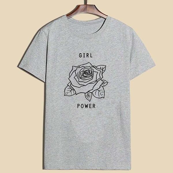 女性の女の子パワーローズTシャツムーブメントシャツトップス