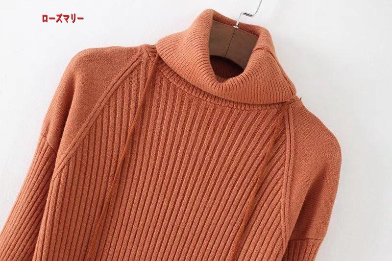 【ローズマリー】ハイネック長袖ニットワンピース女に長め修身着やせ毛玉のストラップをスカート 長袖ニットワンピース 着痩せの効果出る ベースのセーター  ベーシック 大人気-R263