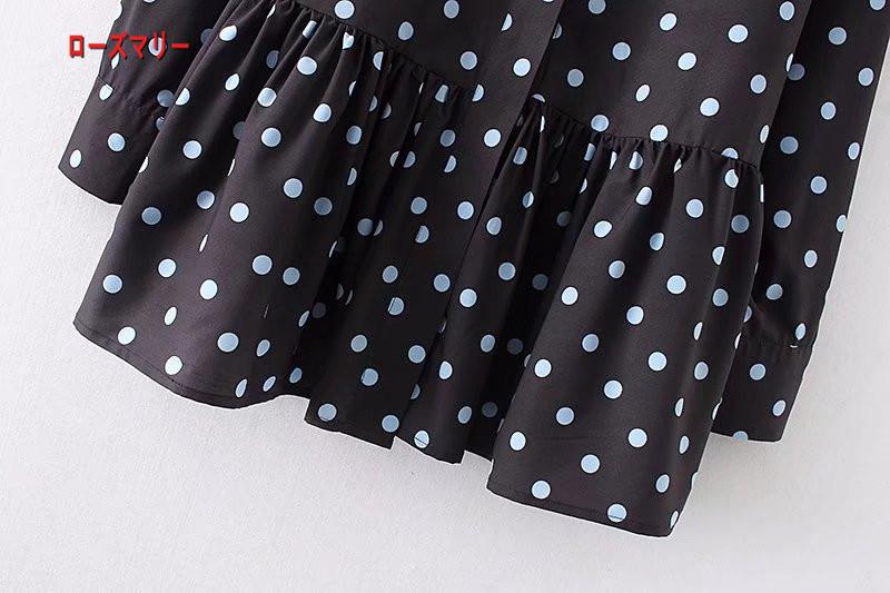 【ローズマリー】2018春季新型欧米風女装ドットブラウスゆったり裾長袖ブラウスにスカート 長袖ワンピース シャツワンピース ヴィンテージ調  ベーシック 大人気-QQ5959