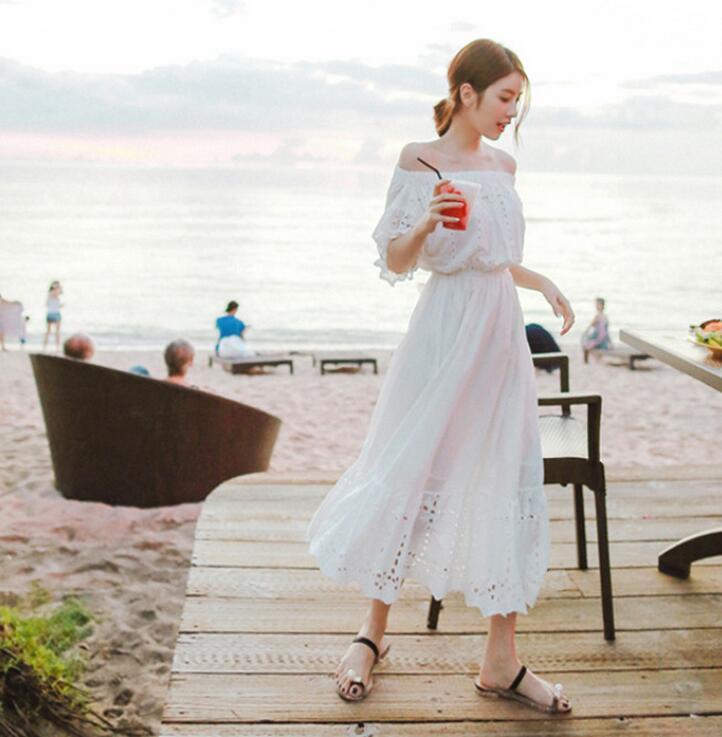 レディース ワンピース 砂浜 オフショルダー マキシ OL 上品 ドレス