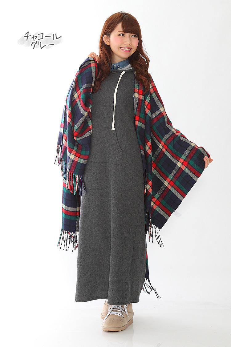 【送料無料】 裏起毛ポケット付パーカーマキシワンピース 極暖