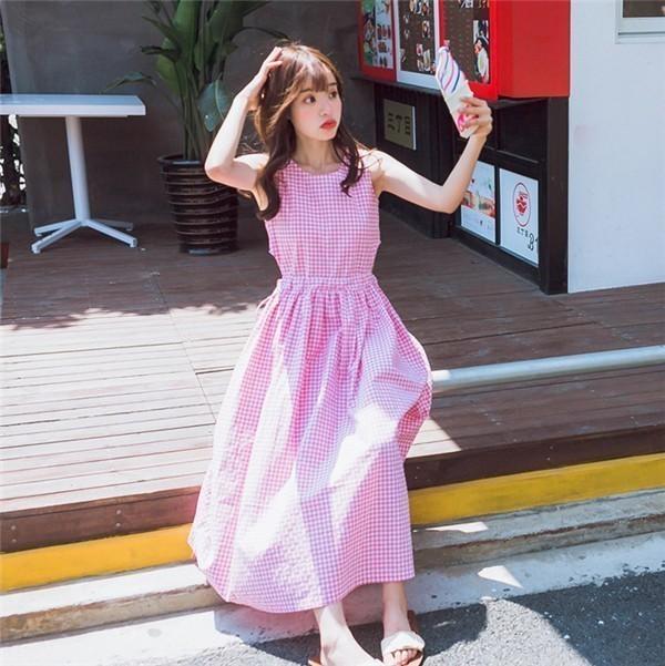 レディースワンピース 韓国無地 スリム 韓国のファッション ノースリーブチェックワンピース  プリントワンピース  開襟 学院風 ハイセンス 着心地いい おしゃれ 夏 スリム セール★ レディースワン