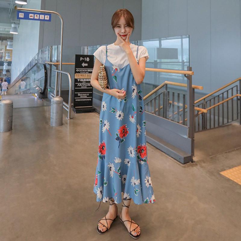 PPGIRL(韓国ファッション)♥送料 0円★PPGIRL_A220 Blossom dress / T shirt + long dress / flower print dress / layered dress / dress