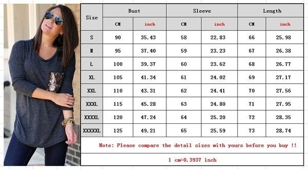 女性ファッションラウンドネックロングスリーブシャツカジュアルスパンコールポケットTシャツブラウストッププラスサイズXS  -  5X