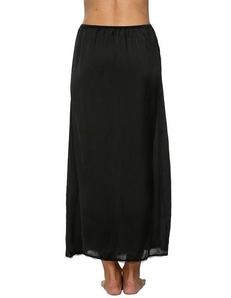 Avidlove Womenサテンソリッドレーストリムマキシハーフスリップアンダースカートスリップスカート