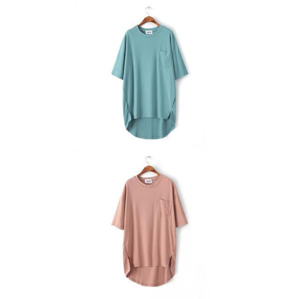 【送料無料】スリット入りビッグサイズポケットTシャツ レディース ワンピース 半袖 無地 シンプル 2017 新作