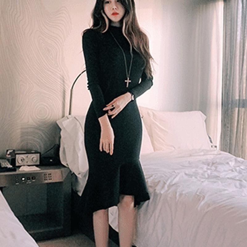 2017早秋  韓国ファッション  レディース  ワンピース 流行 体型 カバー   長袖 可愛い  上質  SKZ163