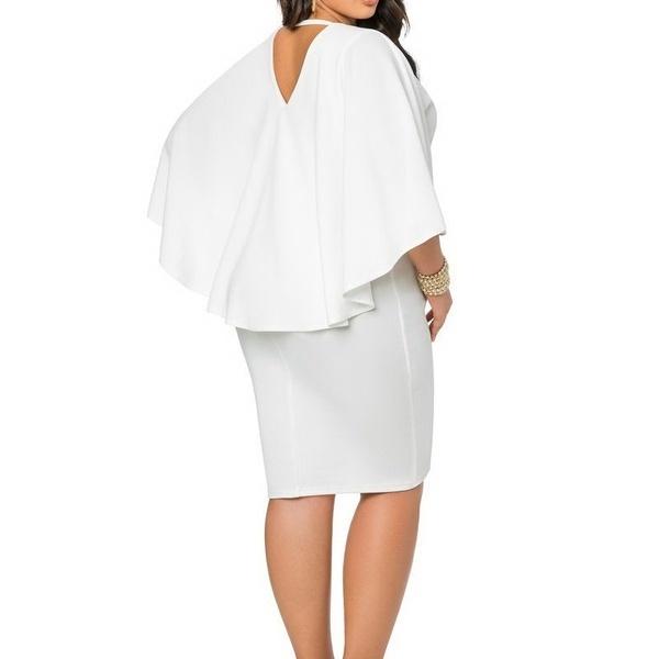 女性の服ヨーロッパの女性のファッションドレスバットケープソリッドカラースカートセクシーな露リュックドレスB