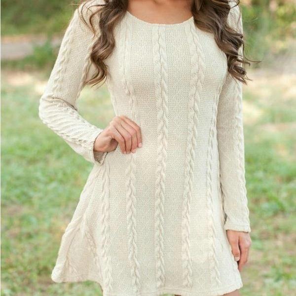 1本の女性のファッションカジュアルロングスリーブOネックツイストニットドレスプルオーバーセータードレス