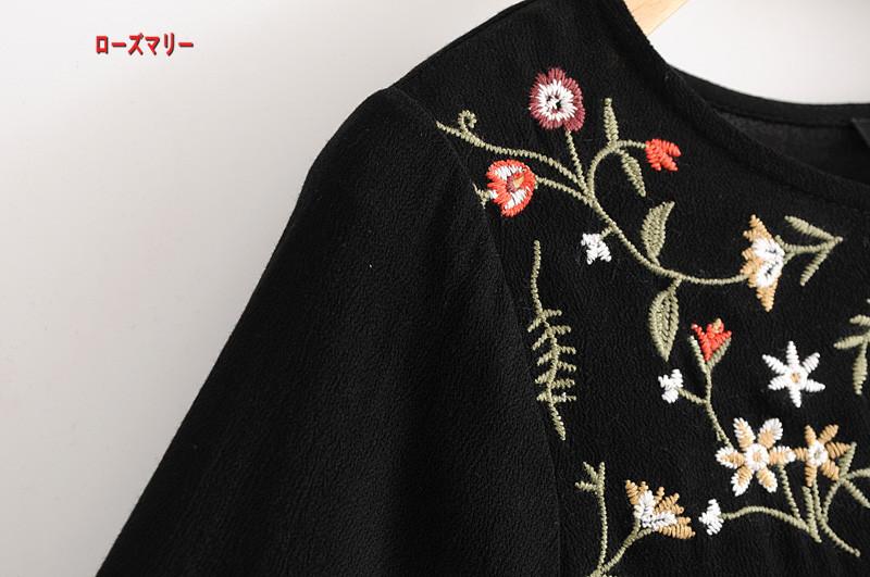 【ローズマリー】春の新型欧米風2018甘いスカートゆったり着やせ刺繍刺繍丸首長袖ワンピース クルーネック スイート 花柄 ヴィンテージ調  ベーシック 大人気-QQ5250