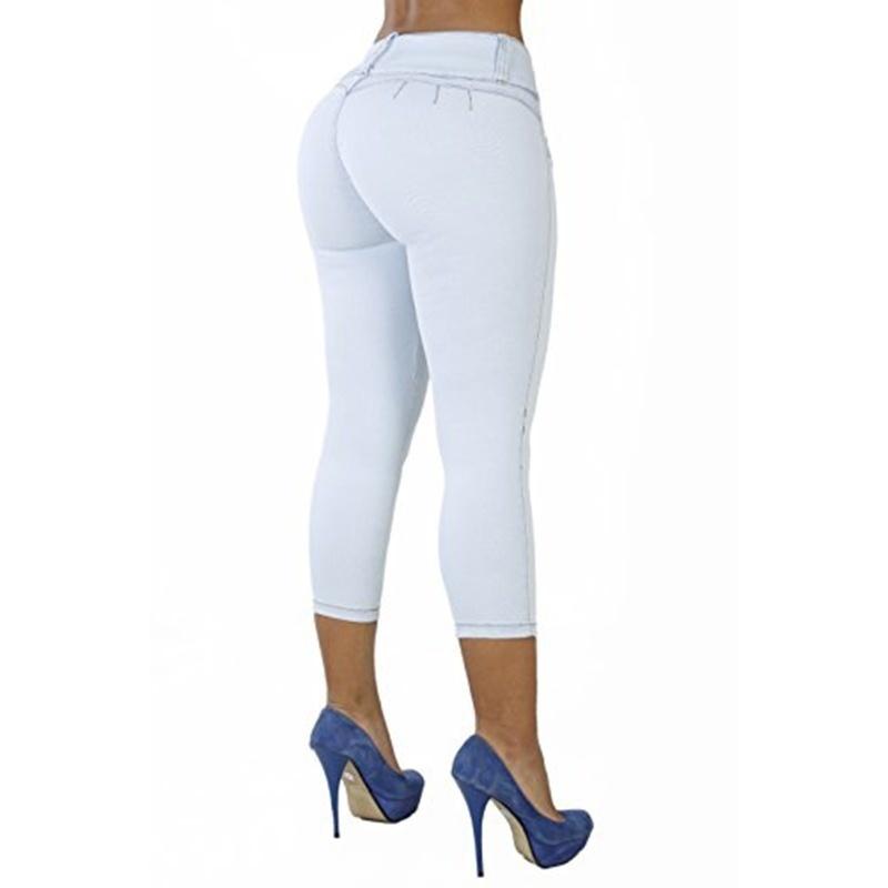 ファッション弾性女性ハイウエストカジュアルパンツスキニートレンディジーンズ4色プラスサイズ