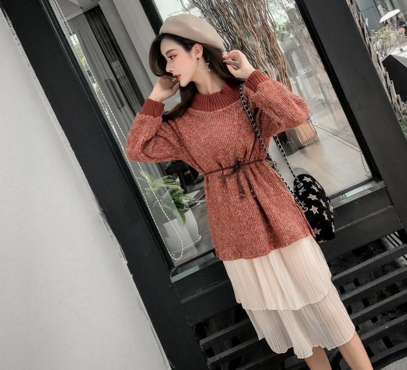 [55564SHOP]★韓国ファッション★女性ファッション★ラウンドニット+スカート2set★デートファッション★推薦デーリー・ウェア