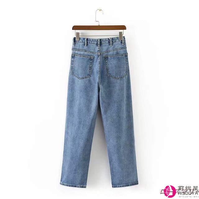 新型ハイウエストブルージーンズ女ワイドパンツ無地ゆったりコード着やせズボン ジーンズ ゆとり ベーシック かわいい ヴィンテージ調