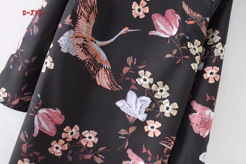 【ローズマリー】欧米風2018春の新型婦人服の東方チャイナドレススタイルのプリントワンピース 花柄 ヴィンテージ調 長袖ワンピース 大人気-R049