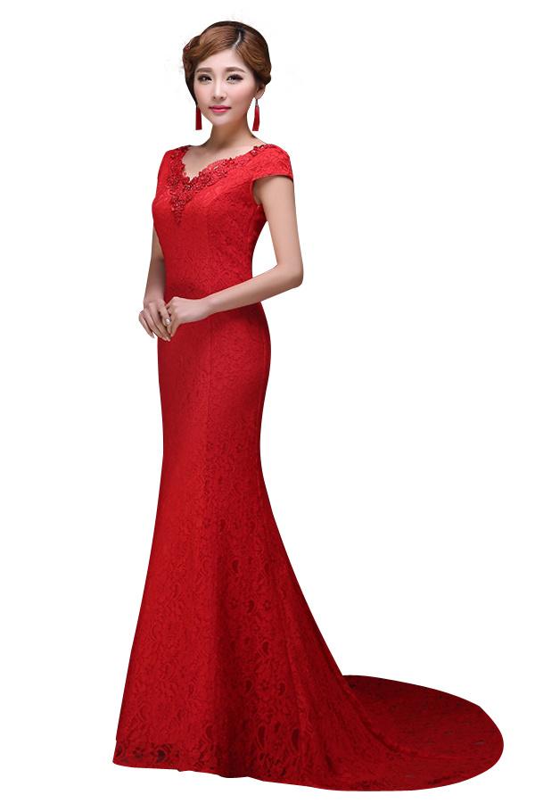 ファッショナブルなマーメイドトランペットのウェディングチョンサムの機会QiPaoチョンサムのブライダルイブニングドレス