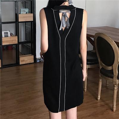 夏 新しいデザイン 女性服 気質 中空 ひもあり 丸襟 2way 学生 ノースリーブ 単