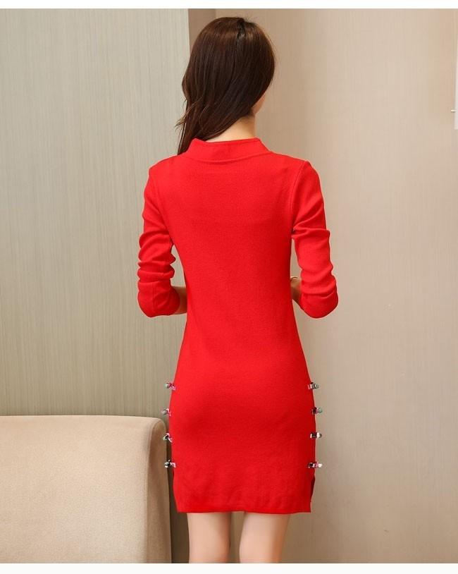 レディース ニットワンピ ショート丈 チャイナドレス 女性用 ニット ワンピース 長袖 ニットセーター レトロ 刺繍