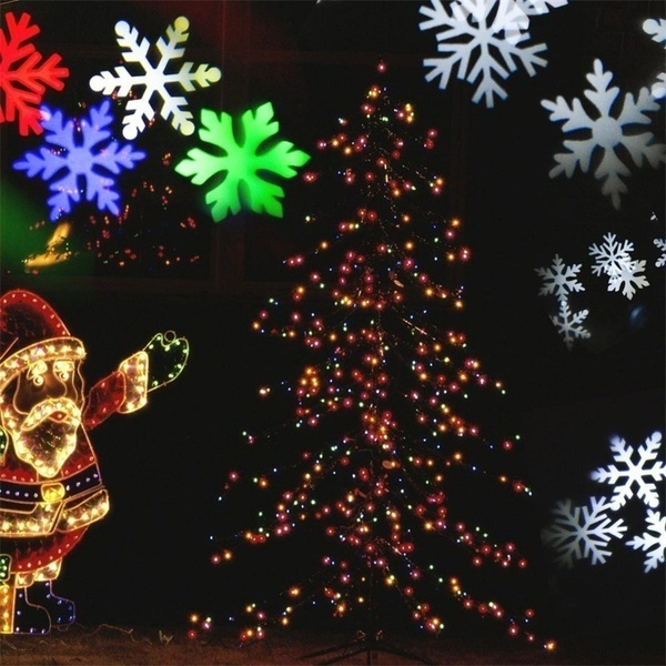 LEDスノーフレークプロジェクターライト防水白または多色の動く雪片