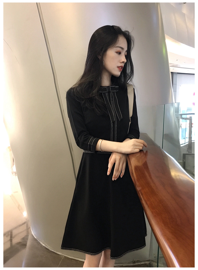 シルエットがキレイ✨サーキュラーワンピース✨ 長袖ワンピース2018春新型韓版女装セレブな気質修身腰顕スリムモデルマキシ
