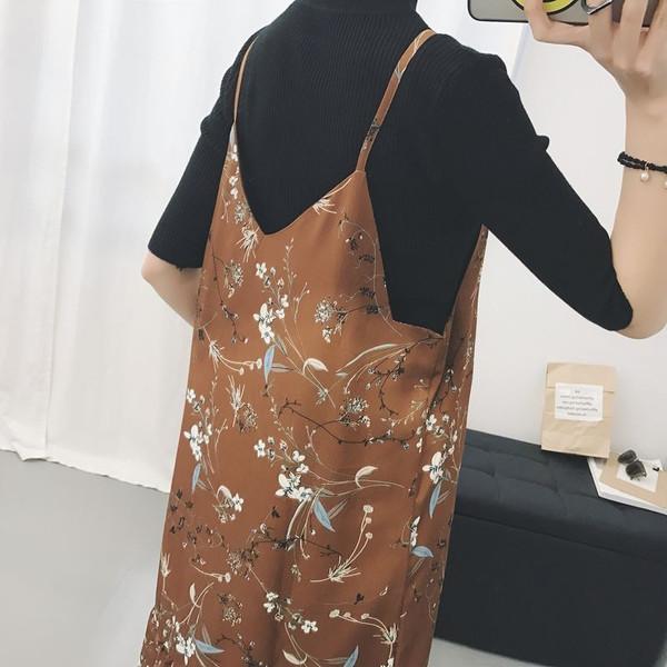 【送料無料】レディース ワンピース シフォンドレス  花柄 ネイビー ブラウン ファッション 2017 新作