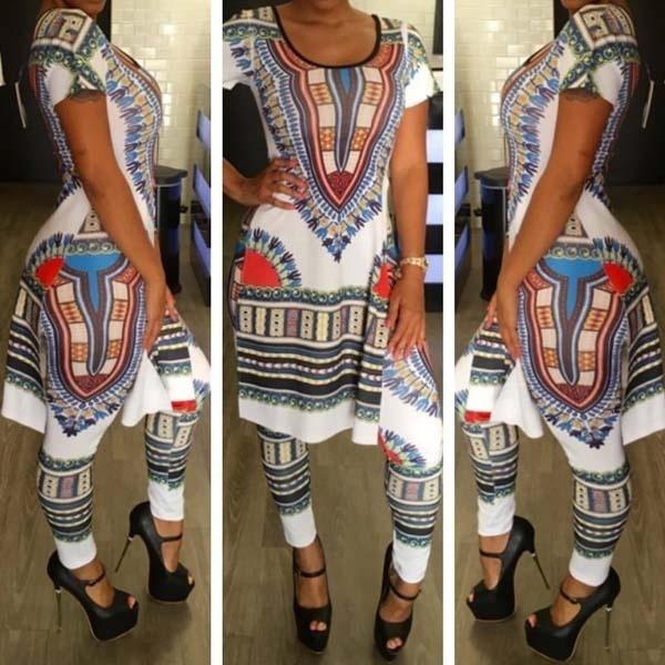 アフリカのトーテムプリントの女性は、ロングTシャツパンツ2個を設定しますカサールの服オレンジ、ブルー