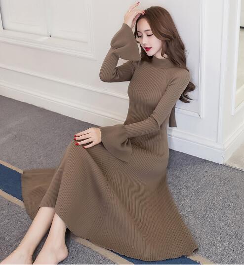 [55555SHOP]ニットワンピ セーター レディース タートルネック ワンピース セーター ロング マキシ丈 セクシー ハイネック ニット 韓国ファッション