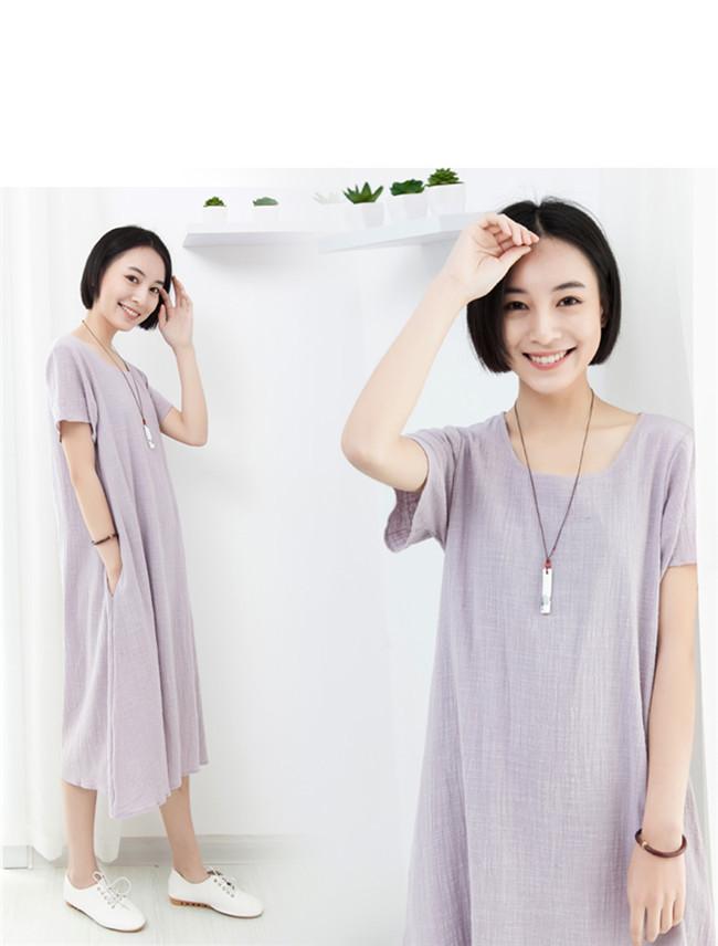 女性Tシャツワンピース 綿麻 無地 韓国ファッションTシャツ 大人の女性の必須 シンプル ドルマンスリーブ 短袖  レディース   スリム・ライン 着痩せ 夏ファッション ワンピース 胖のシャツ 大き