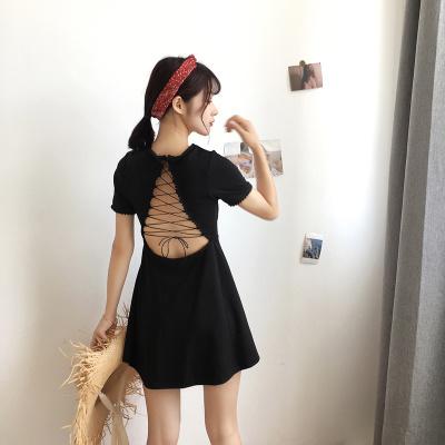 女性服 アンティーク調 セクシー 黒スカート 背中開き クロス 包帯 波 レース ハイウ