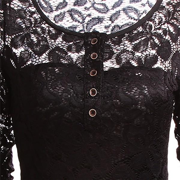 スタイリッシュなシックなセクシーな女性ラウンドネックカジュアルトップスブラウスレースかぎ針編みシフォンシャツS / M / L / XL