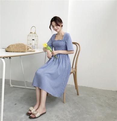 夏 新しいデザイン 女性服 中長デザイン 学生 気質 ウエスト ハイウエスト 着やせ 着