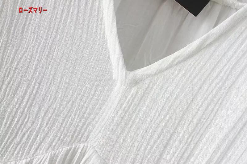 【ローズマリー】欧米2018春季新型ゆったり着やせVネックラッパ袖刺繍復古長袖ワンピース 長袖ワンピース スイート ヴィンテージ調  ベーシック 大人気-QQ5344