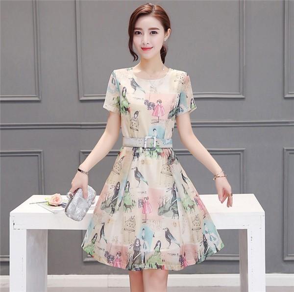 レディースワンピース 韓国無地 スリム 韓国のファッション  半袖夏ワンピース 上品 ロングスカート  ハイウエストワンピース  プリントワンピース  ハイセンス 着心地いい おしゃれ 夏 スリム セ