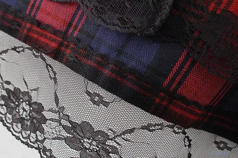 欧米風レディース  裾レースドッキング チェック柄シャツワンピース 長袖 ロングワンピース カジュアル