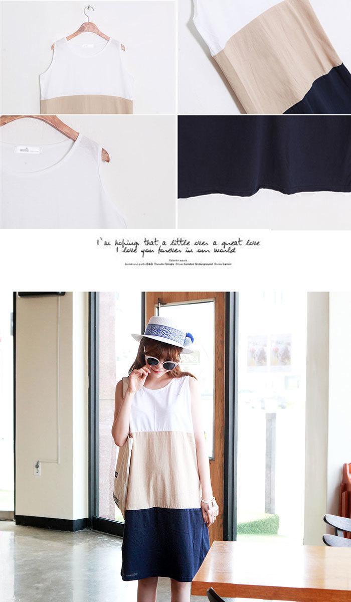 【HESSE】 ★ts33004★3カラー配色ロング tシャツ★ 韓国ファッション コットン 袖なし ラウンドネック ワンピ 袖なし tシャツ ノースリーブ ワンピ デザイン ワンピー スリーブレス