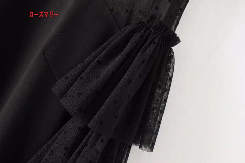【ローズマリー】気質レースの切り替え网纱ラッパ袖ワンピース2018春季新型女装クルーネック積層スカート 長袖ワンピース 美しいデザインで品のある女性を演出!-QQ4980