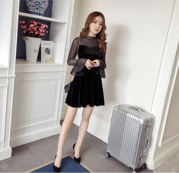 [55555SHOP]韓国ファッション♥長袖セレブなOL気質の職業の服装,レーススカート,レディースファッション♥♥ばれ ワンピース 二次会 ゲスト 袖あり 透け感レース 魅力 大きいサイズ