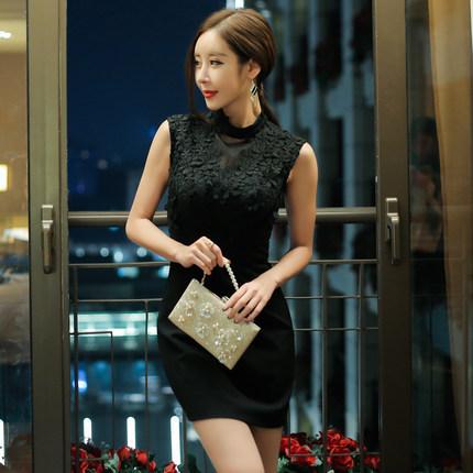2017年春新作淑女スタイルショート丈スカートレースセクシードレス・レディースドレス大きいサイズ小さいサイズ