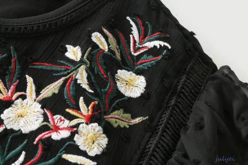 欧米風 刺繡チュールワンピース  ミニワンピース クルーネック 綺麗め 花刺繡入り レディース ブラック かわいい ゆったり