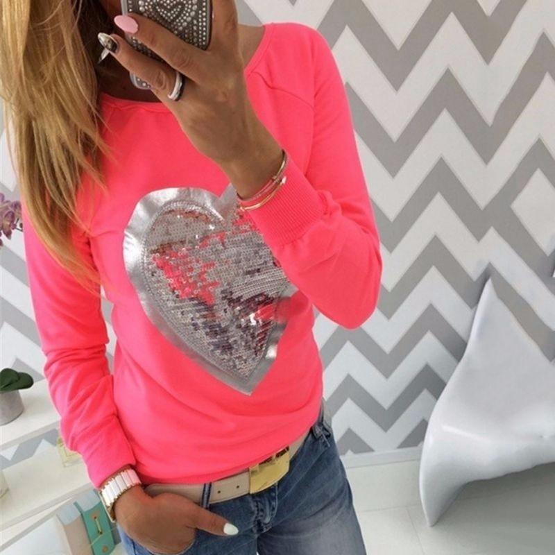 2017ファッション秋の女性のシャツハートスパンコールTシャツラウンドネックハート型ロングスリーブトップス
