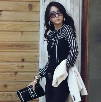 ファッションOL女性レディースストライプランタンロングスリーブタートルネックシャツブラウスブラック/ホワイトbowknot市