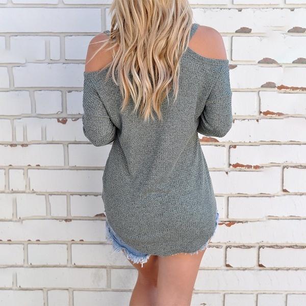 WantLH女性ホルターオフショルダーロングスリーブセクシーなトップブラウスTシャツサマーシャツトップス