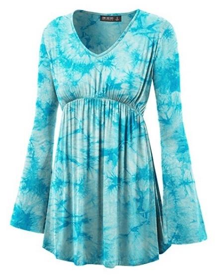 女性のファッションタイ染料プリントロングスリーブプリーツエンパイアウエストラインブラウスS  -  5XL