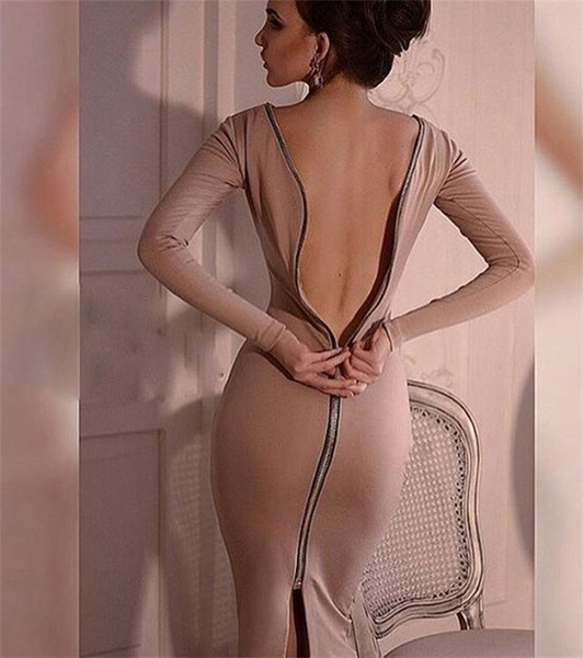 女性の秋の冬のドレスセクシーなスリムバックジッパーのドレスロングスリーブソリッドカラードレスロングドレス