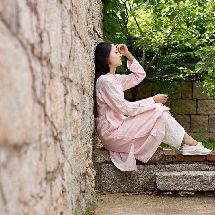 綿麻ワンピース ロング 中国風ワンピース レイヤード風ワンピース 長袖 チャイナボタンワンピース 民族風ワンピース Aラインワンピース